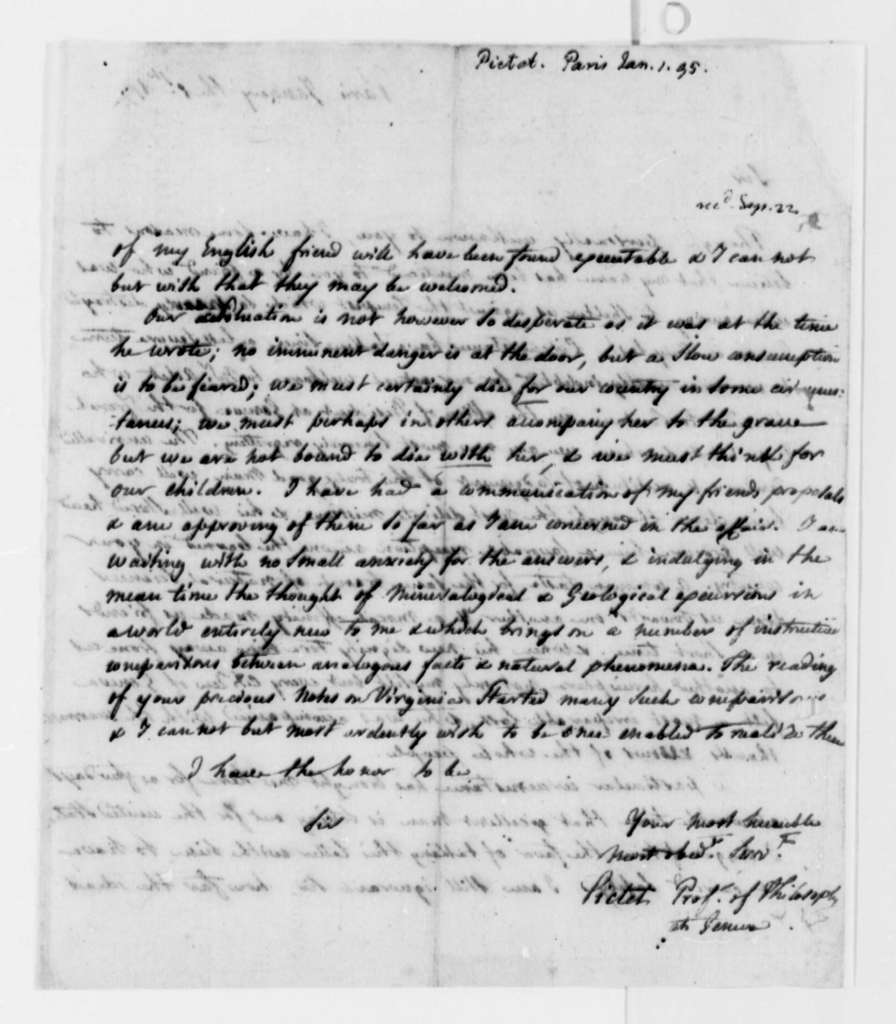 Marc Auguste Pictet to Thomas Jefferson, January 1, 1795