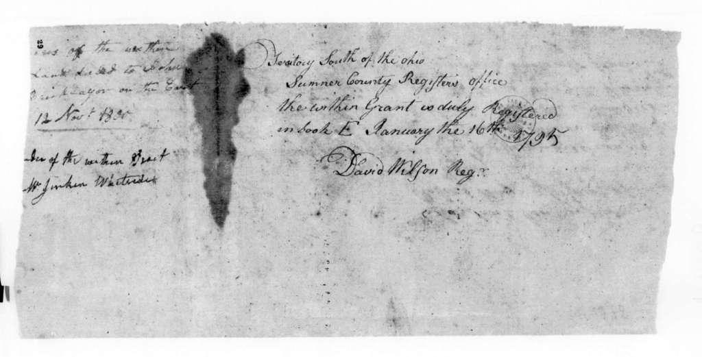 North Carolina to Robert Hays, January 16, 1795
