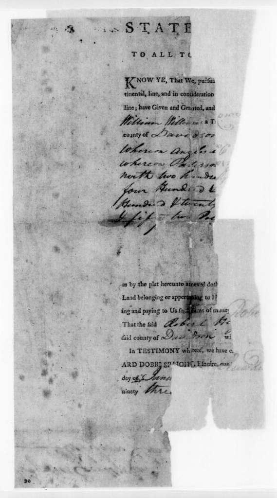 North Carolina to Robert Hays, January 23, 1795