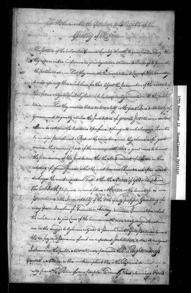 November 12, 1795, Miscellaneous, Plea for sheriff, when appointing grand jurors, to select men of respectability, since so many have been appointed thereto who are dissipate.