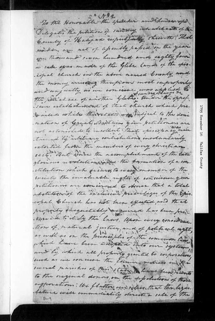 November 16, 1795, Halifax, For sale of glebe lands. [10 identical petitions]