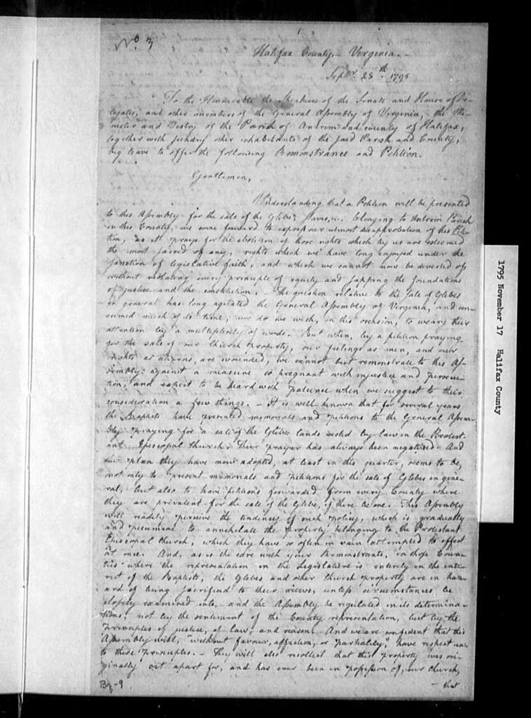 November 17, 1795, Halifax, Minister and vestry of Antrim Parish, opposed to sale of glebe. [4 identical petitions]
