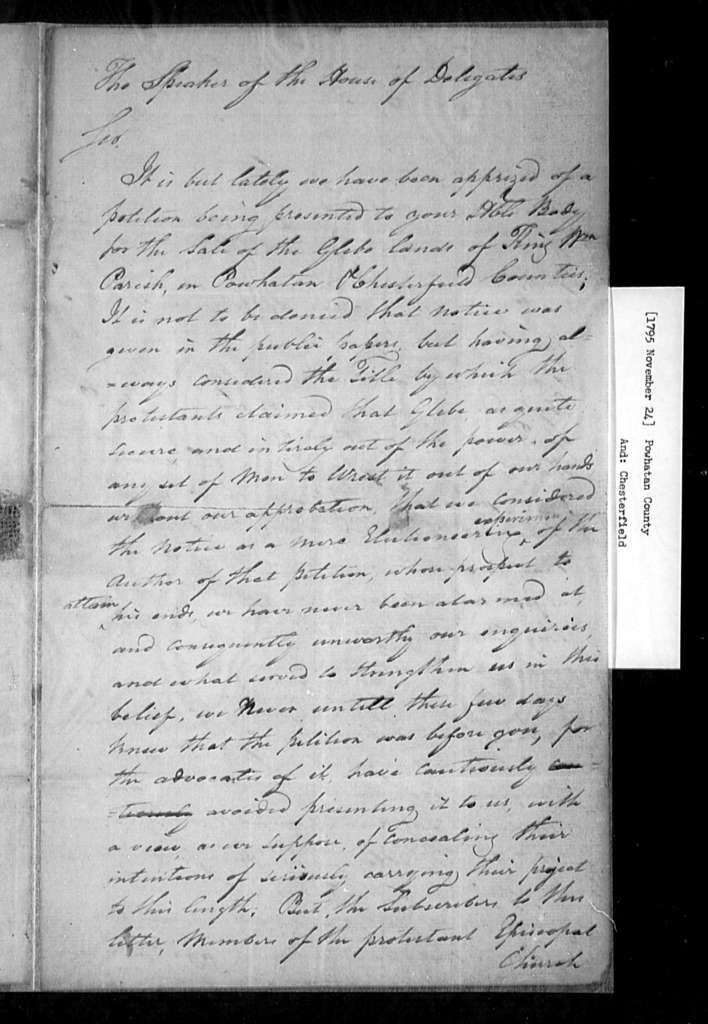 November 24, 1795, Powhatan, Chesterfield, Opposes sale of glebe lands in King William Parish.