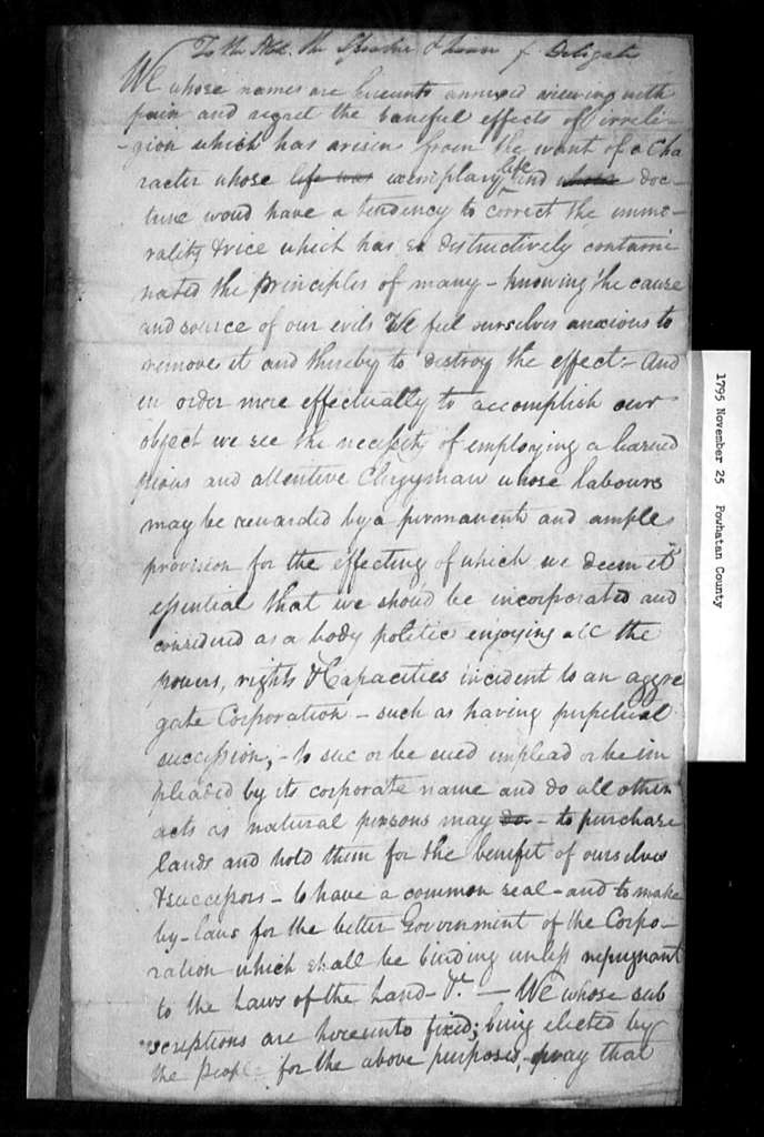 November 25, 1795, Powhatan, For incorporation act.