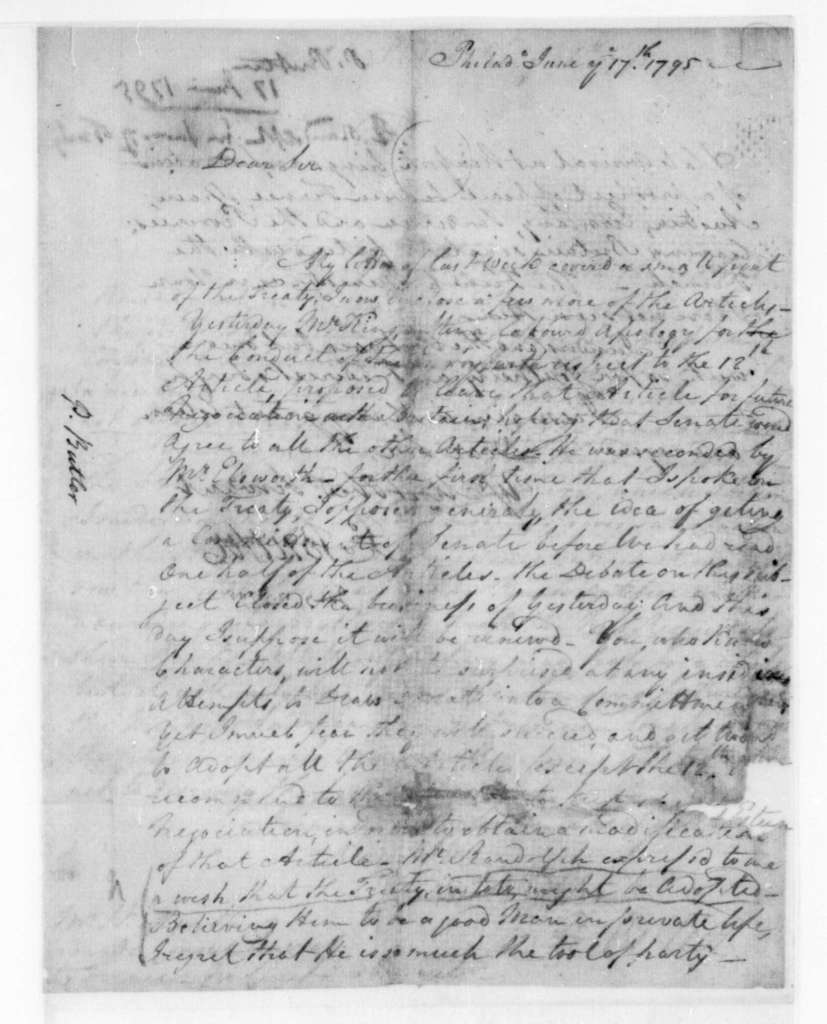 P. Butler to James Madison, June 17, 1795.