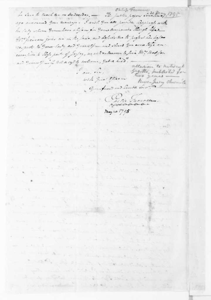 Philip Freneau to James Madison, May 20, 1795.