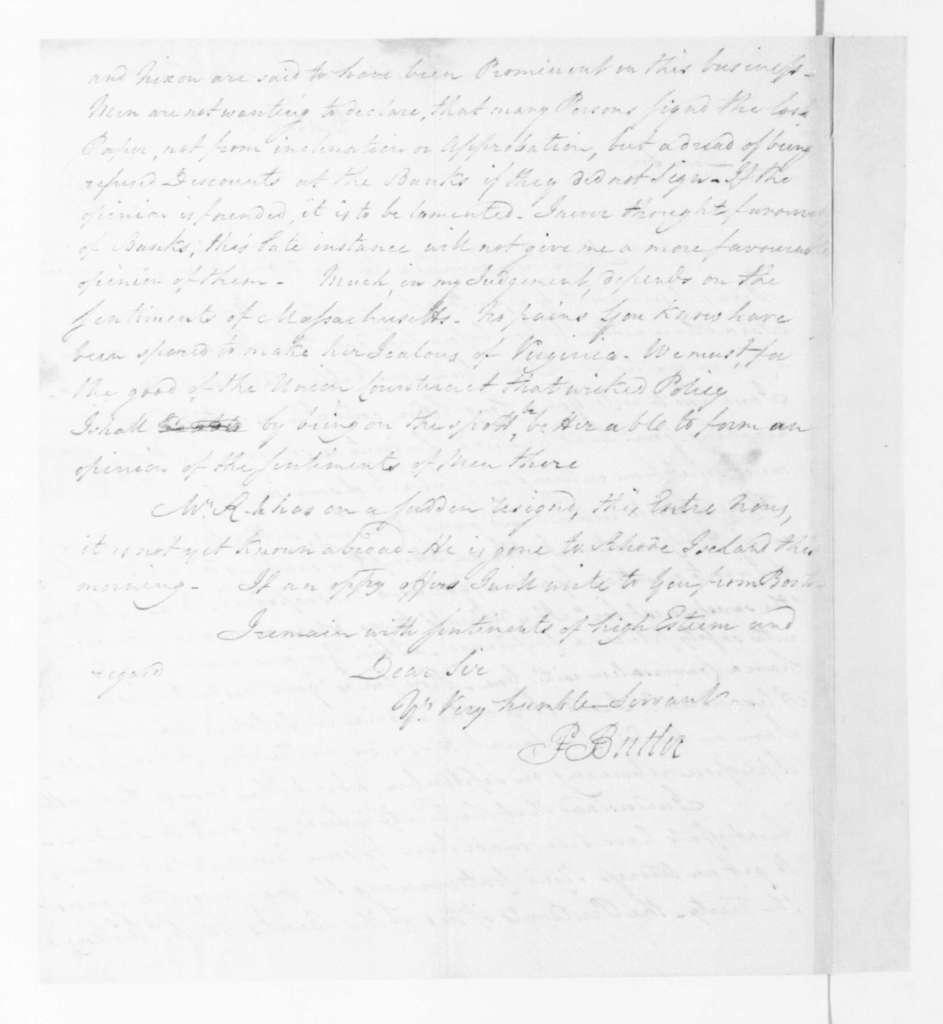 Pierce Butler to James Madison, August 21, 1795.