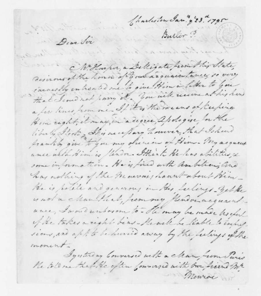 Pierce Butler to James Madison, January 23, 1795.