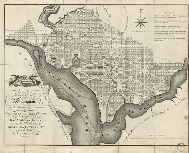 Plan of the city of Washington, in the territory of Columbia, ceded by the States of Virginia and Maryland to the United States of America, and by them established as the seat of their government after the year 1800.