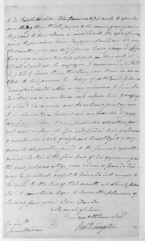Robert Livingston to James Madison, November 6, 1795.