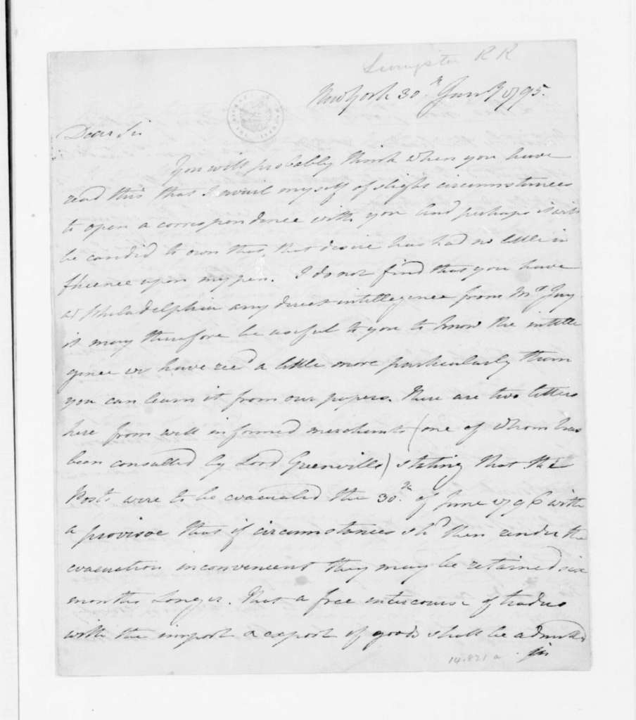 Robert R. Livingston to James Madison, January 30, 1795.