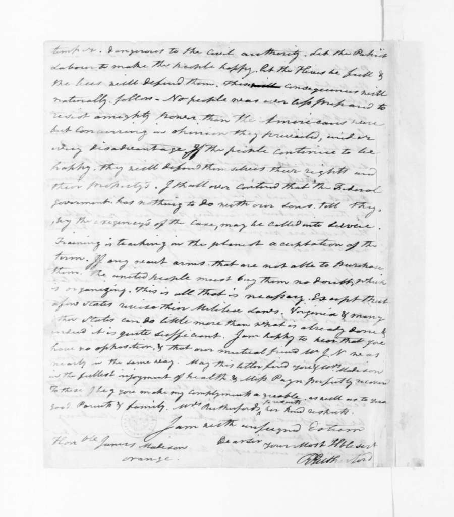 Robert Rutherford to James Madison, March 30, 1795.