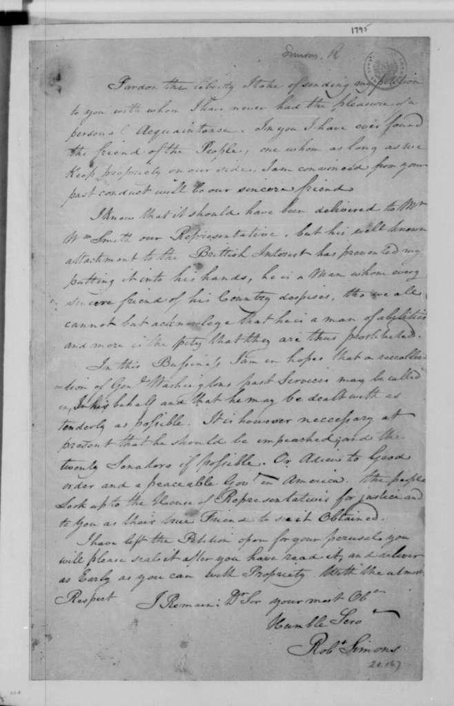Robert Simons to James Madison, December, 1795.