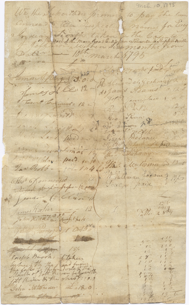 Subscription of settlers pledging a bounty for Indian scalps taken in Jefferson County, Kentucky