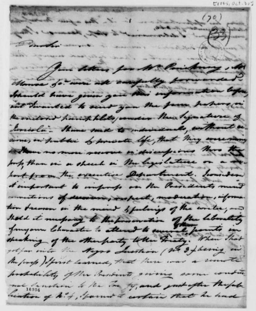 Tench Coxe to Thomas Jefferson, October 30, 1795
