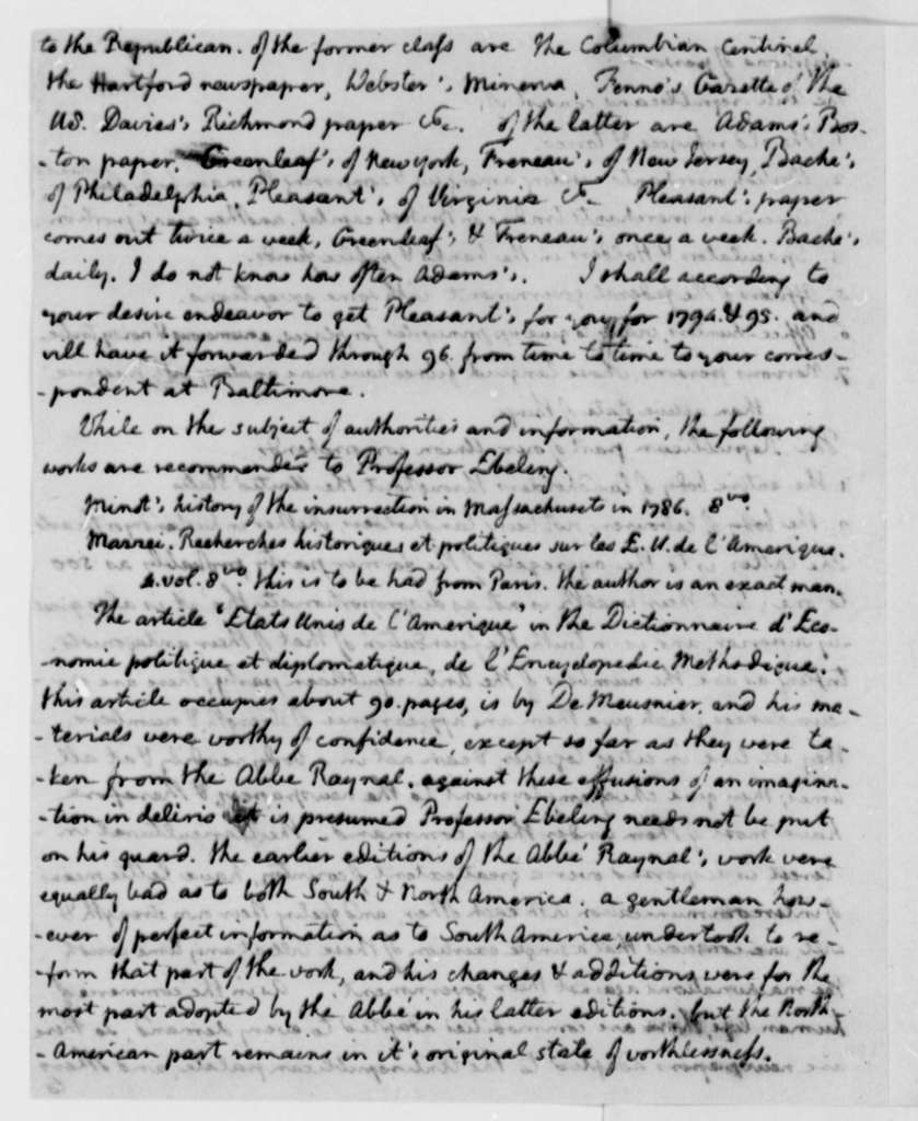 Thomas Jefferson, July 30, 1795, Notes on Christoph D. Ebeling