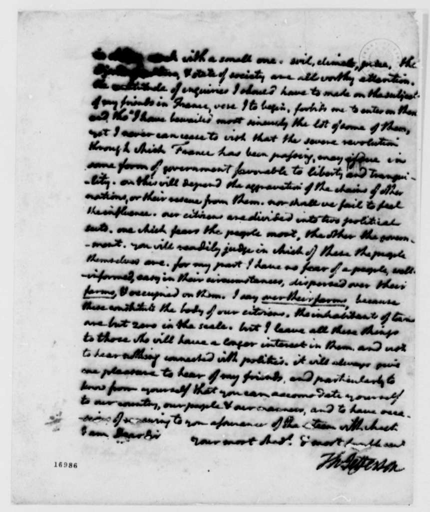 Thomas Jefferson to Count de Volney, December 9, 1795