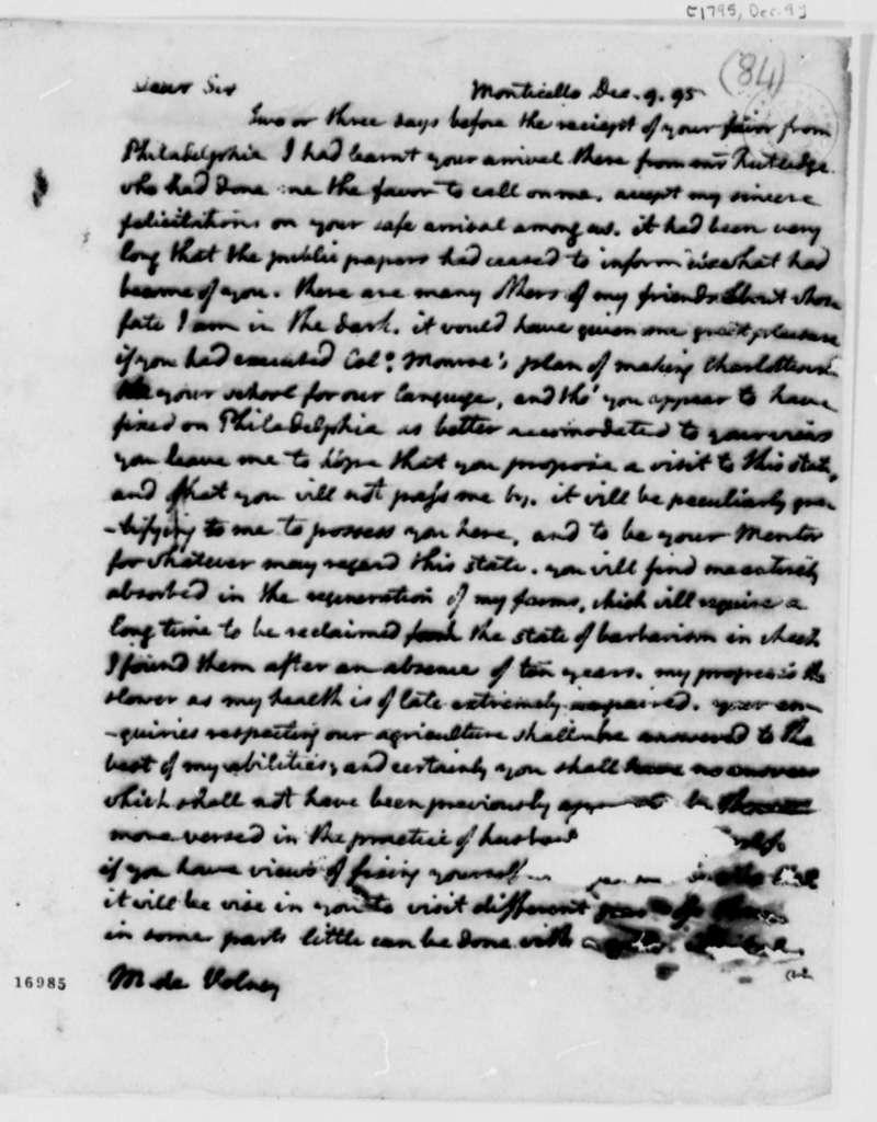Thomas Jefferson to Count de Volney, December 9, 1795