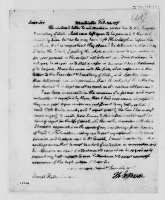 Thomas Jefferson to David Rittenhouse, February 24, 1795