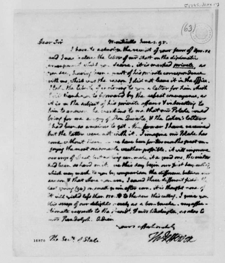 Thomas Jefferson to Edmund Randolph, January 1, 1795