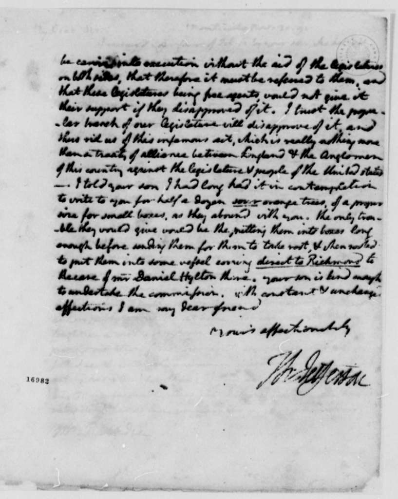 Thomas Jefferson to Edward Rutledge, November 30, 1795