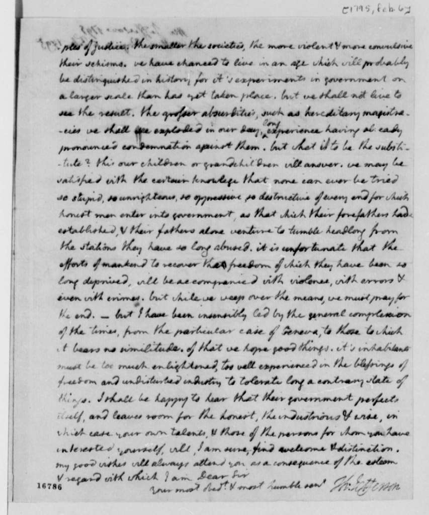 Thomas Jefferson to F. D. Ivernois, February 6, 1795, with Copy