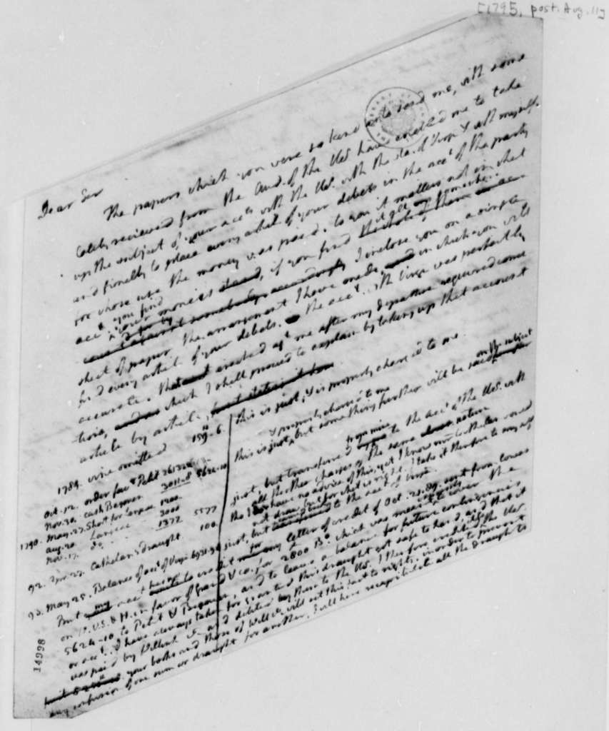 Thomas Jefferson to Ferdinand Grand, August 11, 1795, with Account