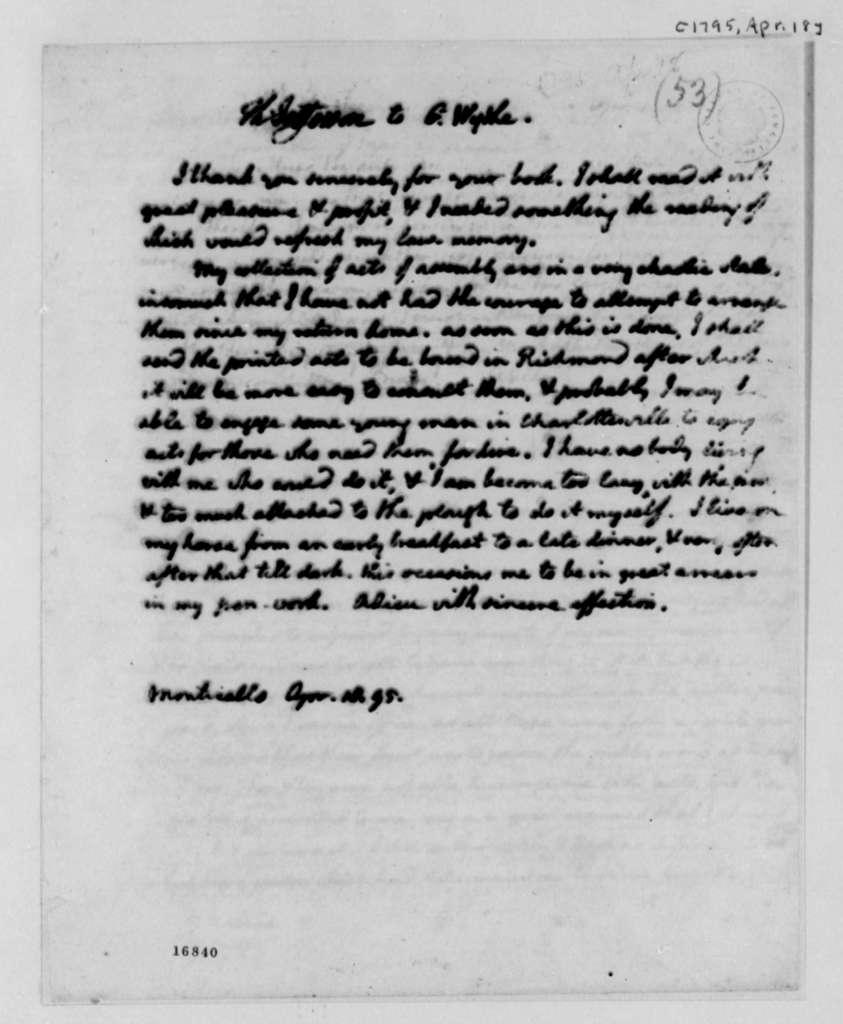 Thomas Jefferson to George Wythe, April 18, 1795
