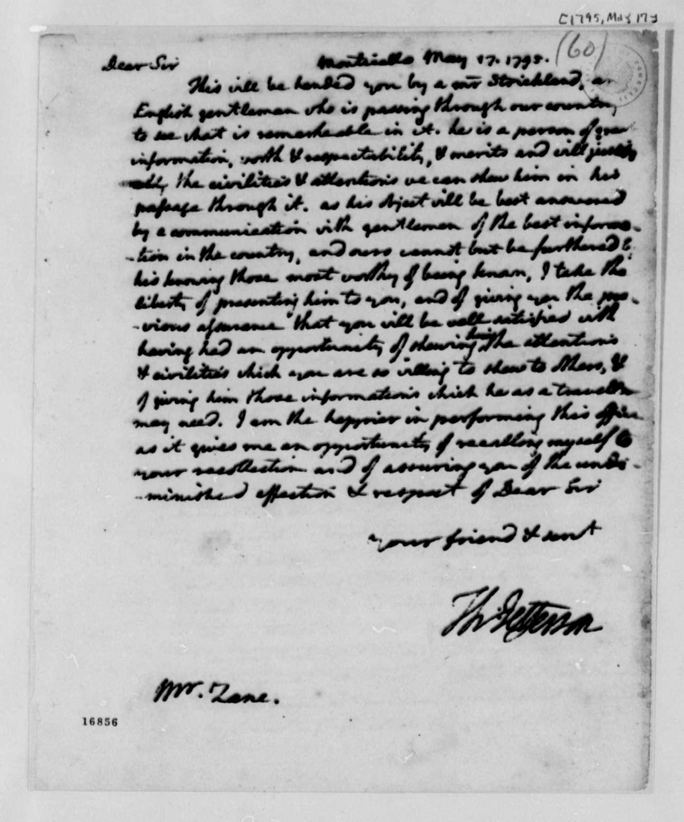 Thomas Jefferson to Isaac Zane, May 17, 1795