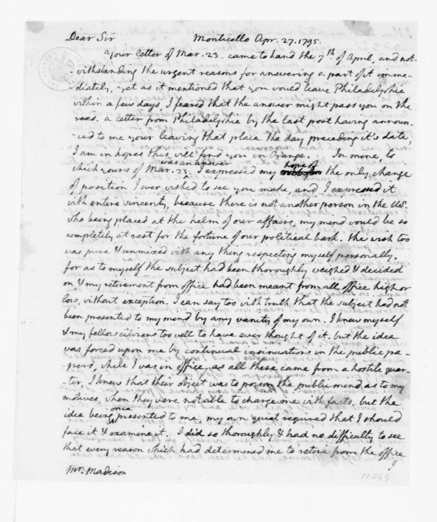 Thomas Jefferson to James Madison, April 27, 1795.