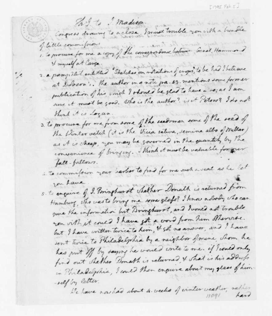 Thomas Jefferson to James Madison, February 5, 1795.