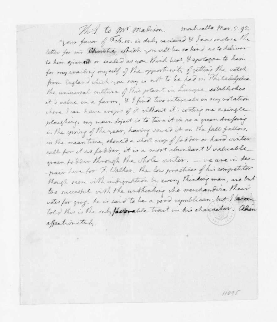 Thomas Jefferson to James Madison, March 5, 1795.