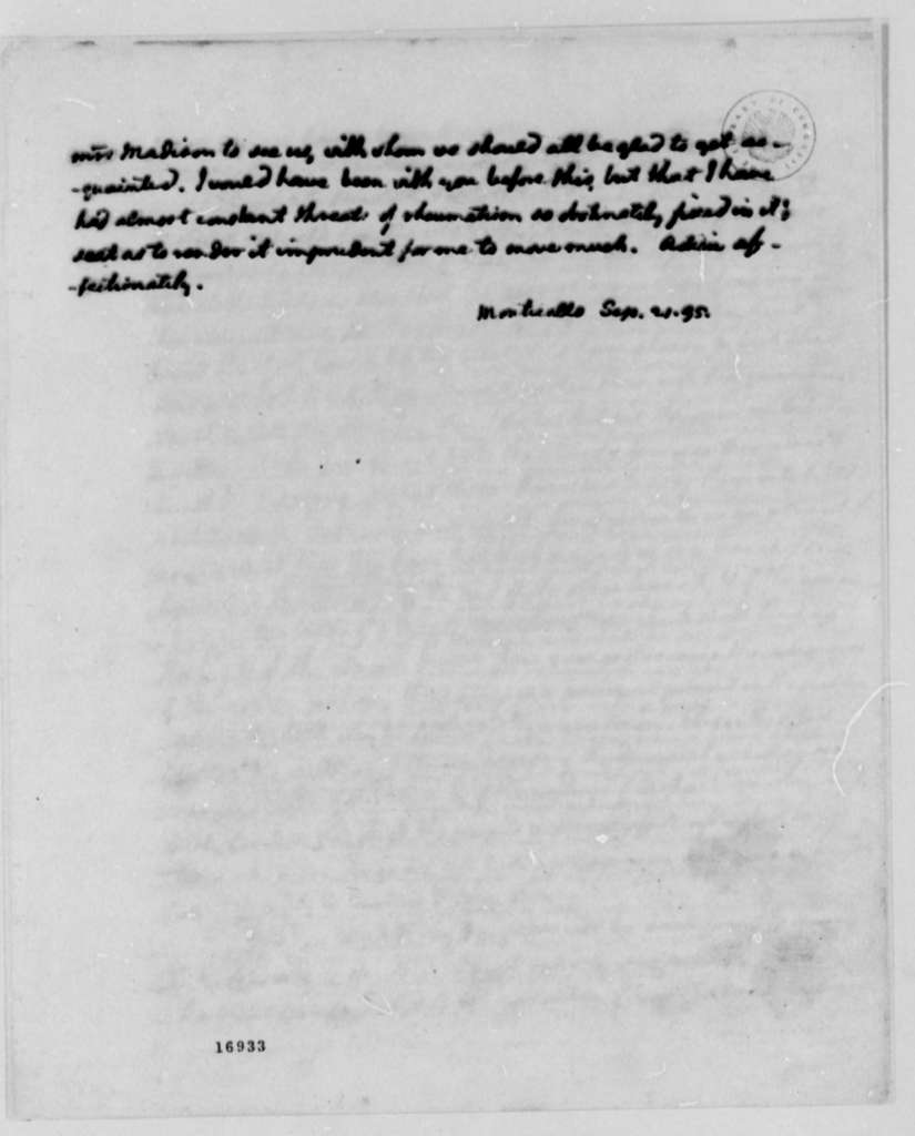 Thomas Jefferson to James Madison, September 21, 1795