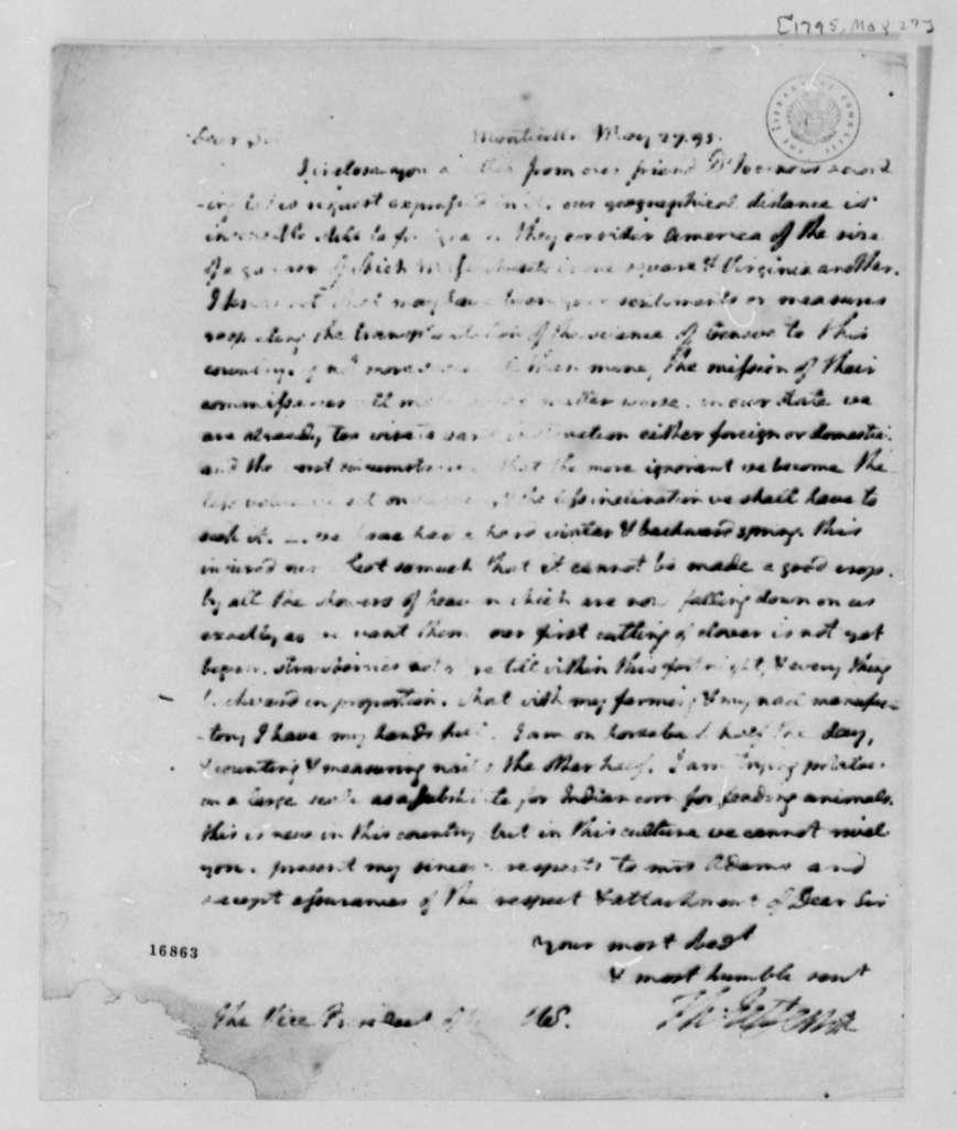 Thomas Jefferson to John Adams, May 27, 1795