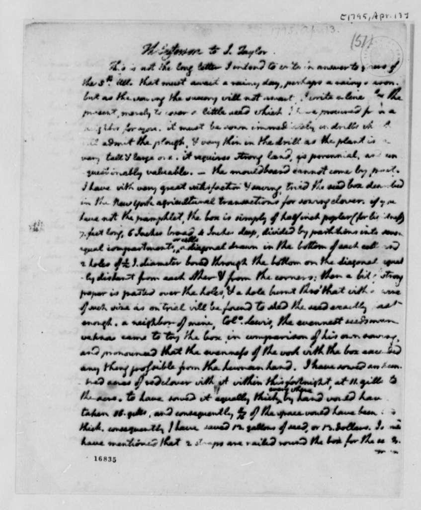 Thomas Jefferson to John Taylor, April 13, 1795
