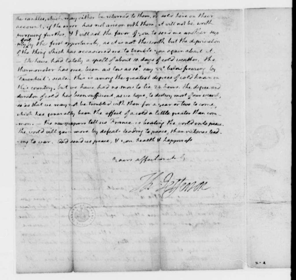 Thomas Jefferson to Joseph Mussi, January 21, 1795