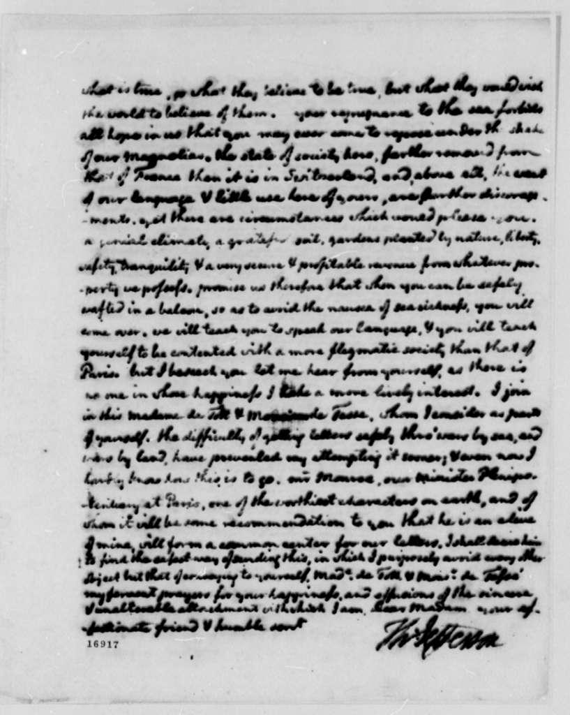 Thomas Jefferson to Madame de Tesse, September 8, 1795