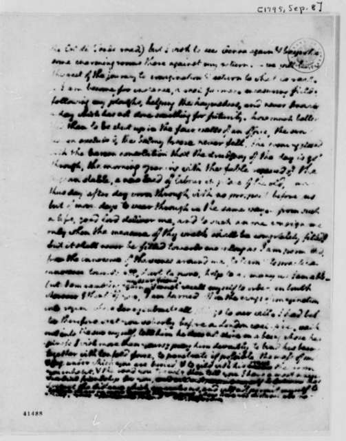 Thomas Jefferson to Maria Hadfield Cosway, September 8, 1795, Partly Illegible