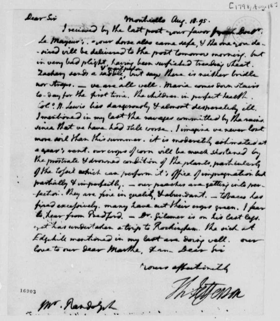 Thomas Jefferson to Thomas Mann Randolph, Jr., August 18, 1795