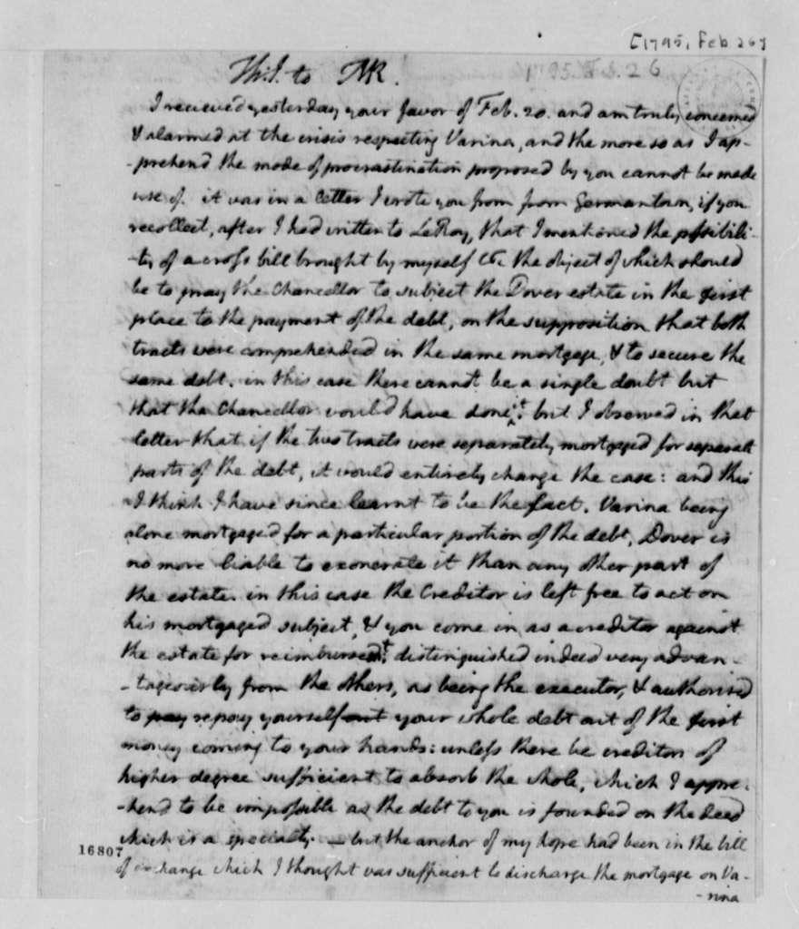 Thomas Jefferson to Thomas Mann Randolph, Jr., February 26, 1795