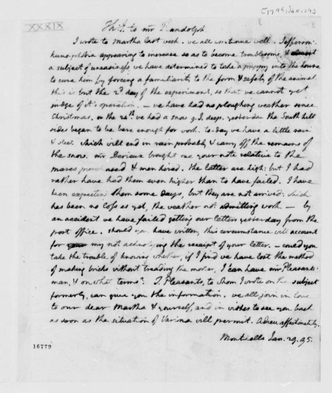 Thomas Jefferson to Thomas Mann Randolph, Jr., January 29, 1795
