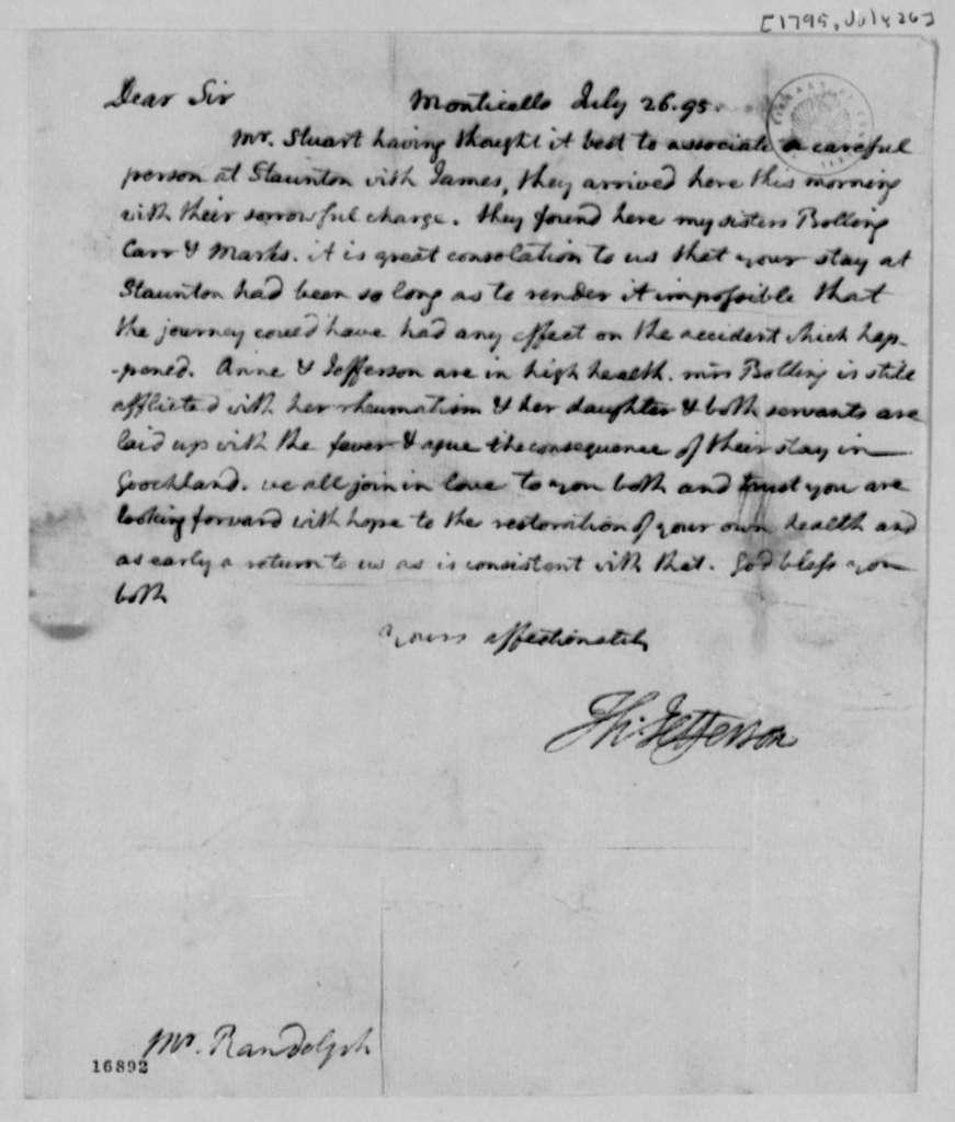 Thomas Jefferson to Thomas Mann Randolph, Jr., July 26, 1795