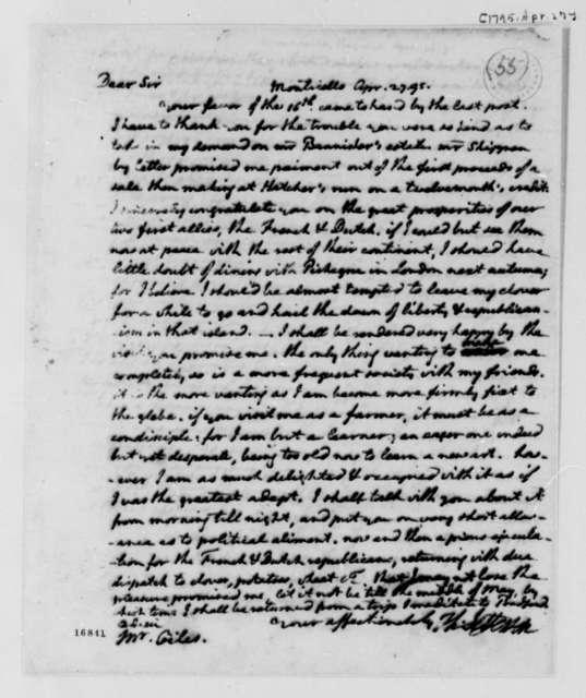 Thomas Jefferson to William Branch Giles, April 27, 1795, Partial Transcription Available
