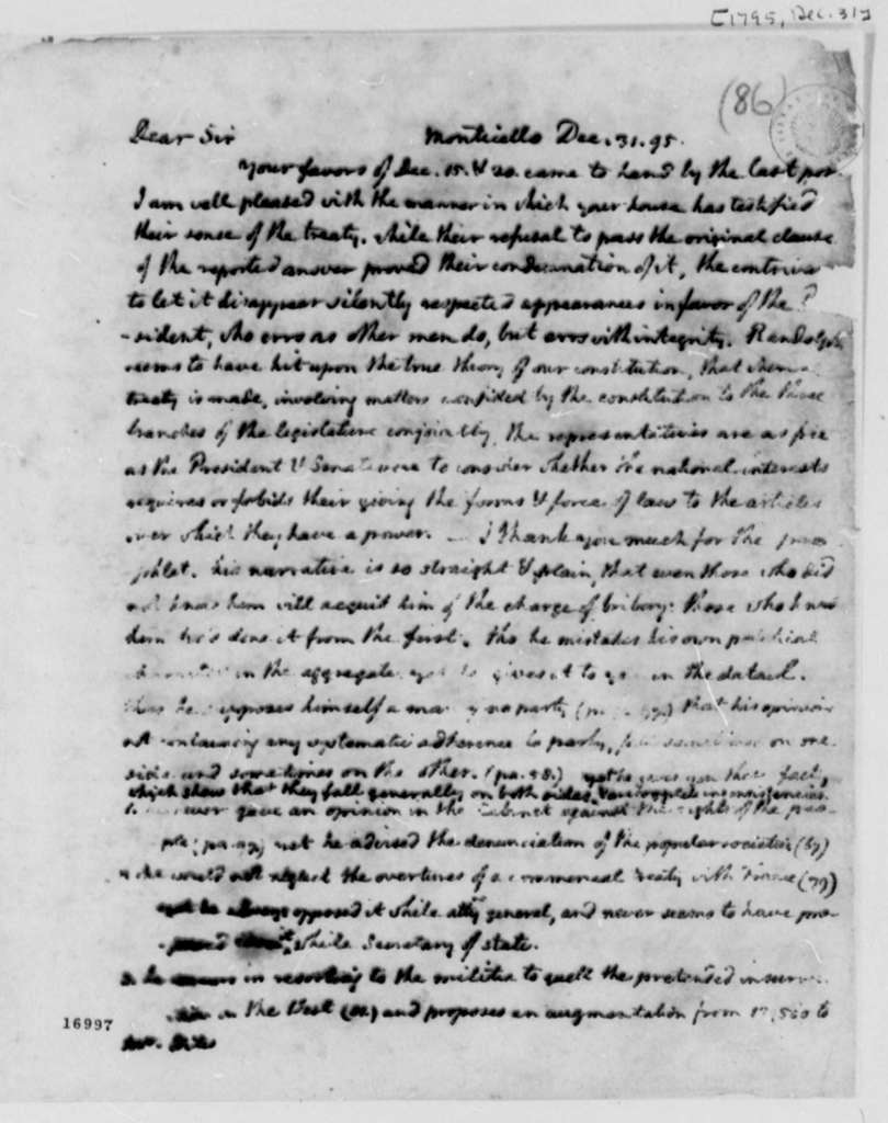 Thomas Jefferson to William Branch Giles, December 31, 1795