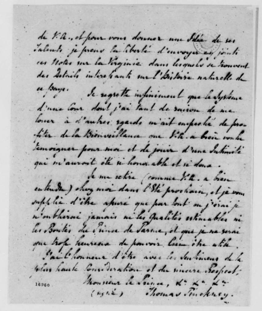 Thomas Pinckney to Louis de Parme, October 31, 1795, in French