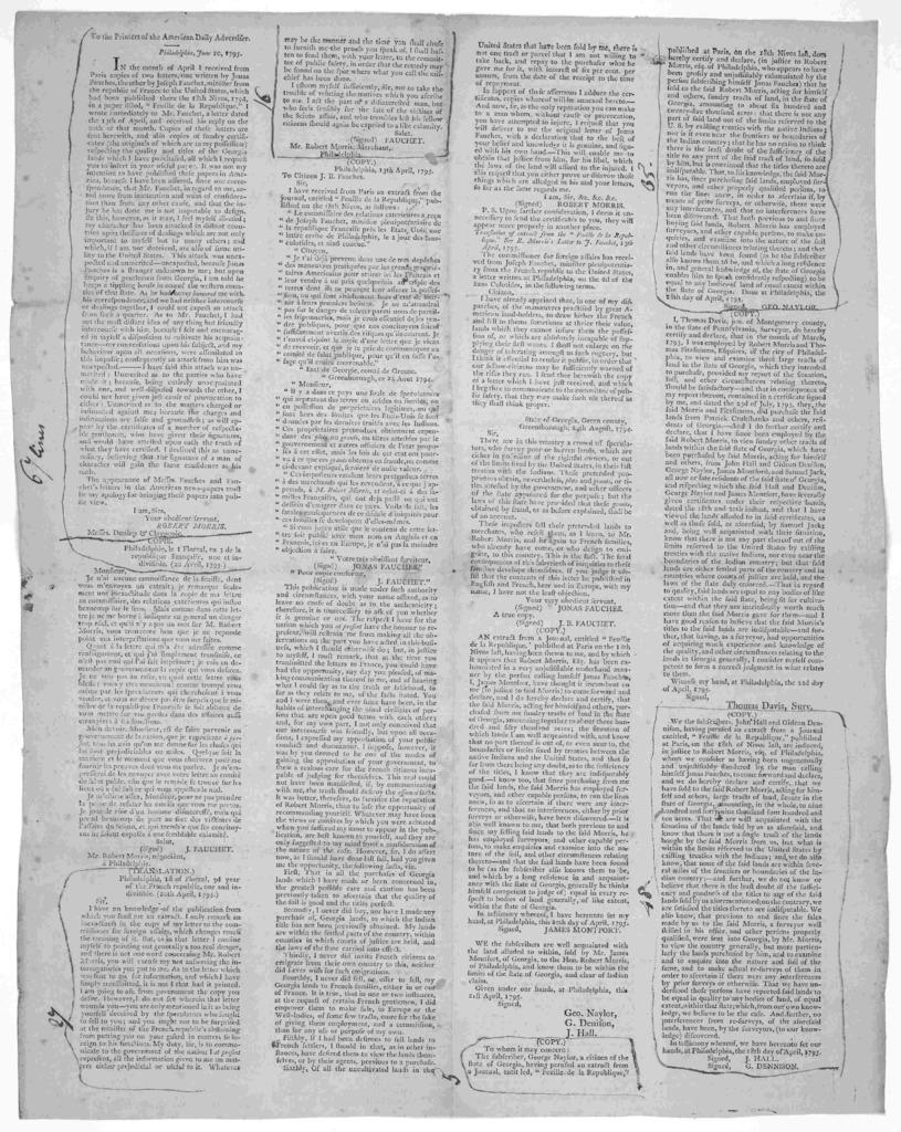 To the Printers of the American daily advertiser [Correspondence between Robert Morris and Jonas Fauchet] [Philadelphia 1795].