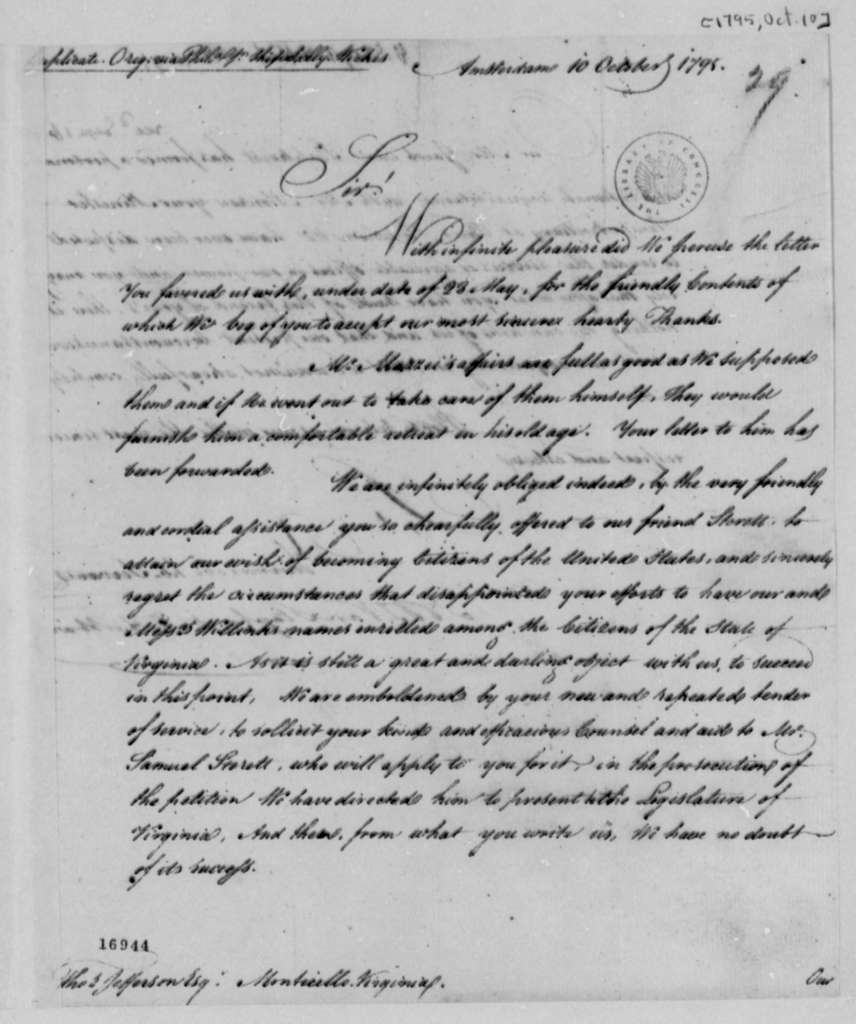 Van Staphorst & Hubbard to Thomas Jefferson, October 10, 1795