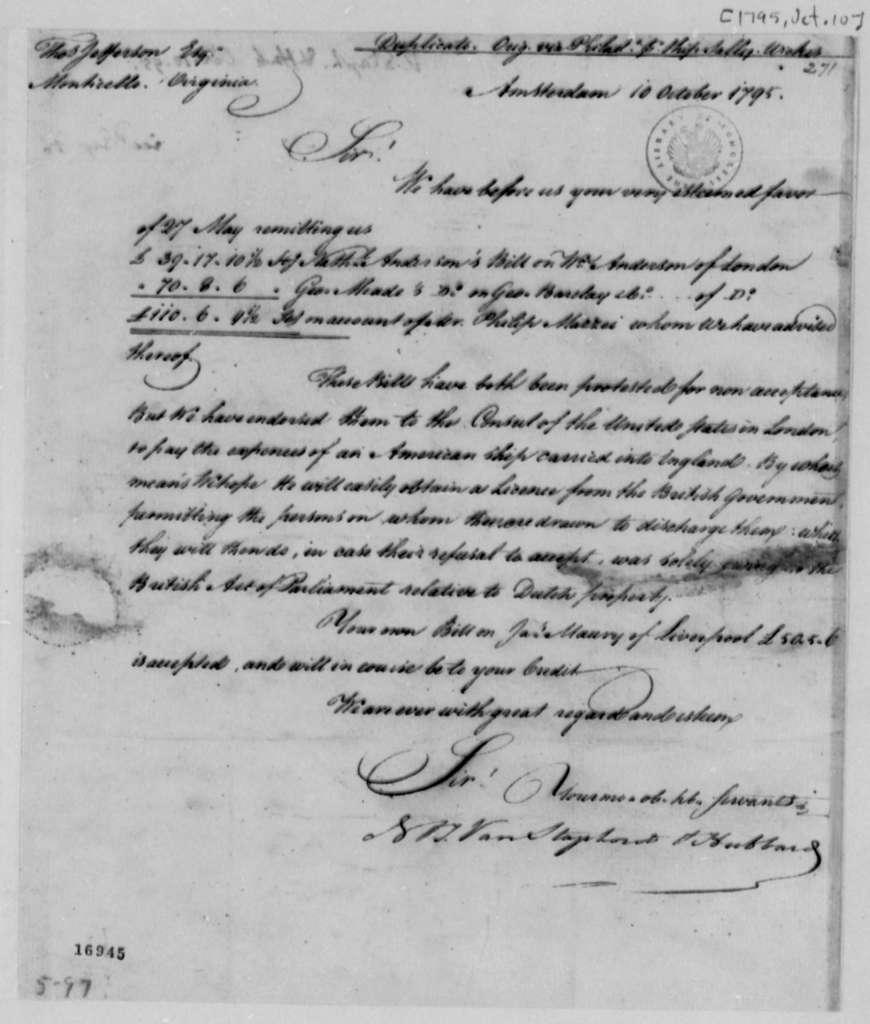 Van Staphorst & Hubbard to Thomas Jefferson, October 10, 1795