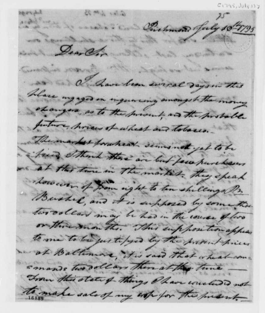 William Branch Giles to Thomas Jefferson, July 13, 1795