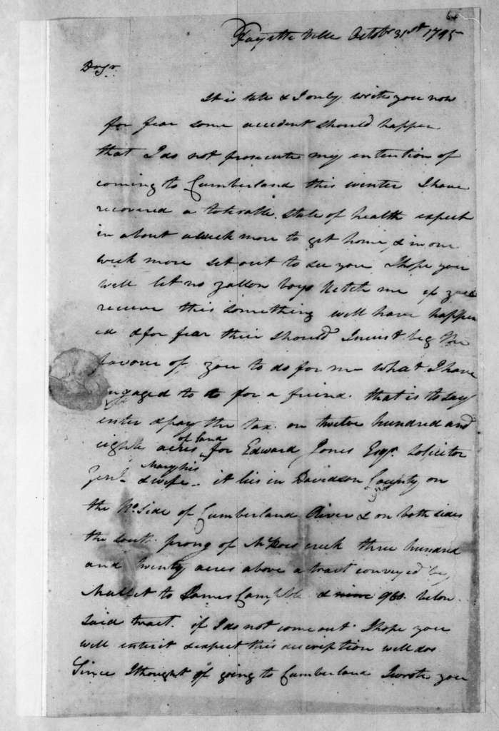 William Couples to Andrew Jackson, October 31, 1795